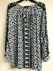 Suzanne Betro Pleasant Boho Tunic Top Blouse Long Sleeve Womens 1xl Multicolored