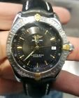 Men's Breitling Antares Stainless 18k Gold Leather Band B10048 Automatic Watch