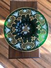 Czech Bohemian Large Green Gold Hand Painted Floral Bowl Beautiful