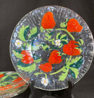 Sydenstricker Fused Art Glass Strawberry Salad Plates 85 Signed Set of 6