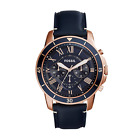 Fossil Men's Grant Sport FS5237 Blue Leather Chronograph Quartz Dress Watch