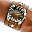 Fossil Mens Watch JR8904 Brown Leather Cuff Band Sunburst Date Dial 50m Working