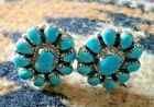 Turquoise Silver Sterling Earrings Clip Artist Signed