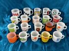 Fire-King Anchor Hocking Federal Glasbake Advertising Coffee Mugs Lot of 20