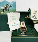 Stunning Vintage Gilt Dial Rolex Datejust 18k Gold SS 16013 Watch Box Papers