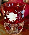 EAPG Riverside Glass Cos Ruby Stained and Floral Design Tumbler Stunning