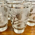 Vintage Libbey Frosted Silver Pinecone Mid Century Set Of 6 Drinking Glasses