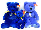 Ty Clubby I & II Blue Bears Beanie Baby SET OF 3 Great Condition