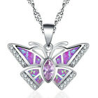 Fashion woman 925 Silver butterfly Pink Fire Opal Charm Pendant Necklace Chain