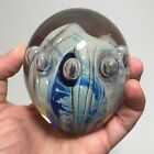 EICKHOLT Signed art glass paperweight Opalescent OCEAN WAVE with bubbles dated