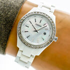 Fossil Mini Stella Womans Watch ES2437 White Mother Pearl Date Crystal Works