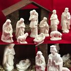 Gorgeous Vtg Atlantic Mold White Ceramic Nativity Handmade Manger Christmas