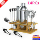 14PCS Stainless Steel Cocktail Shaker Bar Set Bartender Accessories Tools Kit US