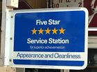 ORIGINAL Vintage AMOCO 5 Star FLANGE SIGN Standard Service Station Gas Oil OLD