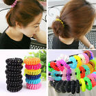 12Pcs Elastic Girl Rubber Telephone Wire Hair Ties Plastic Rope Hairband Spiral