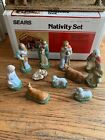 VINTAGE SEARS NATIVITY SET Hand Painted 97930 11 figurines Wood Stable