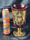 WIDE CZECH BOHEMIAN MADESK GOLD HIGH ENAMEL RUBY RED CRYSTAL GLASS VASE 11