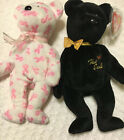 Ty BEANIE BABIES BEARS THE END BLACK BEAR 1999 & GIVING CANCER SET LOT 2