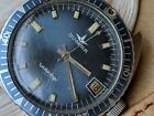 Vintage Dugena Watertrip 10 ATM Skin Diver w/Blue Dial,Runs Strong FOR REPAIR