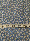 Daisys on Blue Cotton Fabric Approximately 15 Yards