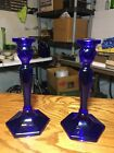 Fenton Cobalt Blue Candle Holders Tall Candlesticks 85 inches Stunning