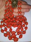 Vintage Czech Coral Color Hand Blown Glass Multi Strand Beaded Necklace