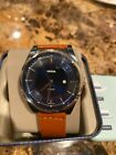Fossil Men's 44mm Mathis Blue Dial Brown Leather Band Date Watch FS5422 NEW!