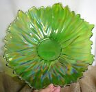 Akcam 15 Hand Made Green Art Glass Flower Shaped Bowl Turkey Centerpiece NEW