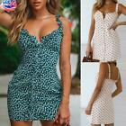 US Women's Sexy Floral Strappy Dress Ladies Summer Holiday Beach Button Sundress