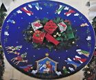 Bucilla NATIVITY Felt Holy Christmas Tree Skirt Kit RARE Sterilized BLUE VNTG