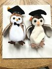 Beanie Babies 2 owls  Wise Wisest 1998 2000 nice pair of OWLS
