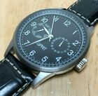 ESPRIT Mens Silver Black Leather Analog Quartz Watch Hours~Day Date~New Battery