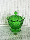 FENTON FOOTED HOBNAIL COMPOTE WITH LID BEAUTIFUL GREEN COLOR EX CONDITION
