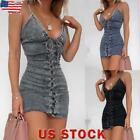 Womens Denim Strap Sleevelelss Dress Ladies Summer Lace Up Bodycon Jean Dress US