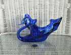 LARGE HAND BLOWN SWAN CANDY DISH COBALT BLUE AND CLEAR GLASS 9 MURANO