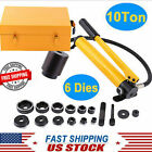 10 Ton 6 Dies Hydraulic Knockout Punch Hand Pump Hole Tool Driver Kit with Case