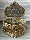 Vintage Woven Banboo Primitive Country Heart Shaped Handle Picnic Basket RARE