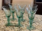 6 Vintage Recycled Clear Green Drinking Glass Water Goblets Excellent RARE!