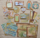 Scrapbooking Premade Mat Set Pages Pieces Kit SEWN Paper Crafts Travel pack890