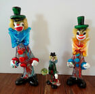 Vintage Venetian Murano Hand Blown Glass Clowns lot of 3