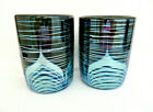 Pair of Steven Correia Signed Hand Blown Art Glass Pulled Feather Tumblers DOF