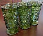 6 VINTAGE GREEN CUBIST TUMBLERS WHITEHALL MINTY
