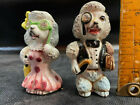 Vtg Pair Poodle Dog Salt  Pepper Shakers Jeweled Opera Monocle Victoria Ceramic