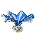 Italian Collection Fruit Bowl Star Murano Glass Centerpiece Bowl 15 Inch Blue