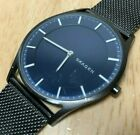 Skagen Denmark Men Ultra Thin Mesh Steel Blue Analog Quartz Watch Hours~New Batt