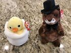Ty Beanie Baby Lot of 2 Eggbert and Punxsutawney Phil 2004