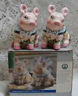 CERAMIC PIGS SALT  PEPPER SHAKERS WITH FLORAL ACCENTS NIB