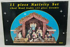 Vintage Wood and Ceramic Nativity Set of 11