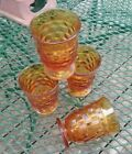 WHITEHALL Amber Glass by Colony American Cubist Juice Tumblers Set of 4 About 4