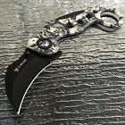 ZOMBIE APOCALYPSE GRAY SKULL ASSISTED TACTICAL KARAMBIT POCKET KNIFE OPEN ASSIST